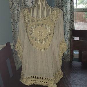 Beautiful KORI macrame style blouse size M